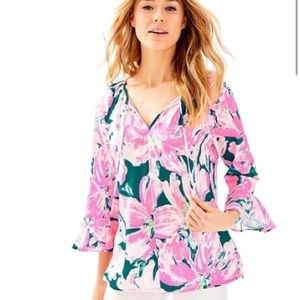 NWT Lilly Pulitzer Willa Flounce Top XS